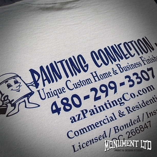 Custom printed work t shirts for the painting connection for Work t shirt printing
